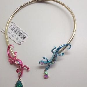 Betsey Johnson New Pink & Blue Salamander Necklace